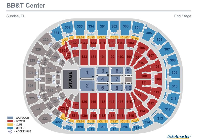 BB&T Center End Stage Seating Map