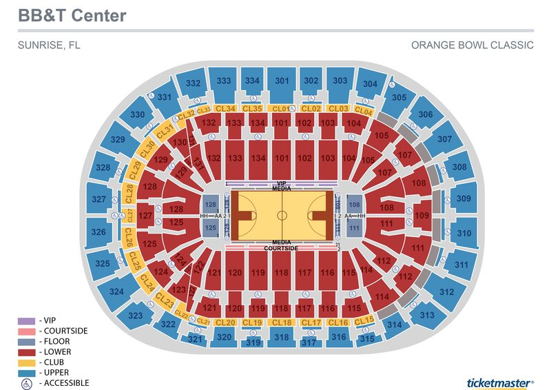 Orange Bowl Basketball Classic Seating Map
