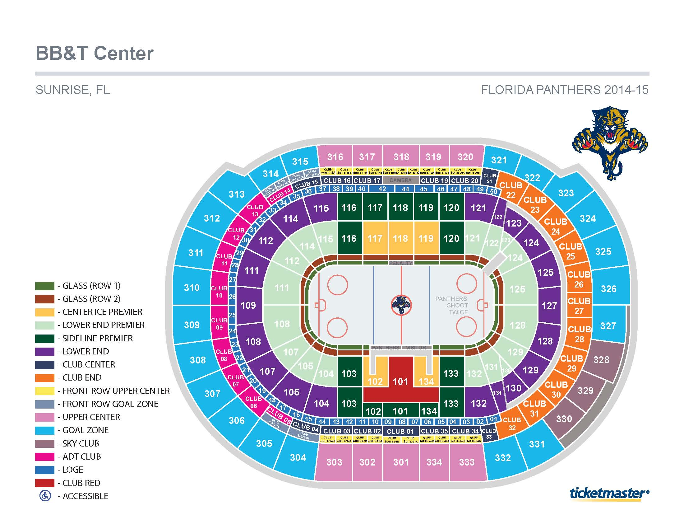 Florida panthers seating chart bb t center seat row numbers